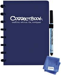 Notitieboek Correctbook uitwisbaar en herbruikbaar A5 marine blauw lijn 40blz