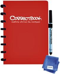 Notitieboek Correctbook uitwisbaar en herbruikbaar A5 rood lijn 40blz