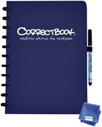 Notitieboek Correctbook uitwisbaar en herbruikbaar A4 marine blauw lijn 40blz