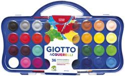 Gouache Giotto 30mm doos à 36 kleuren met 2 penselen