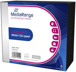 CD-R MediaRange 700MB|80min 52x speed, Slimcase a 10 stuks