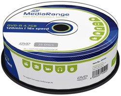 DVD-R MediaRange 4.7GB|120min 16x speed, 25 stuks