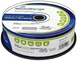 DVD-R MediaRange 4.7GB|inkjet printable, 25 stuks