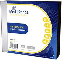 DVD+RW MediaRange 4.7GB|4x speed, Slimcase Pack a 5 stuks