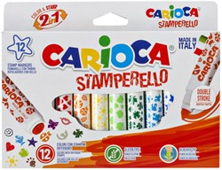 Viltstiften Carioca stempelstift 2 in 1 set à 12 kleuren