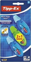 Correctieroller Tipp-ex 5mmx8m micro twist blister 2+1 gratis