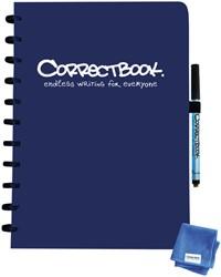 Notitieboek Correctbook uitwisbaar en herbruikbaar A4 blanco marine blauw