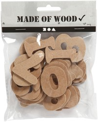 Cijfers 0-9 Creotime hout 4cm assorti