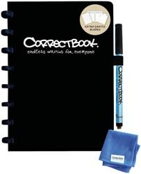Notitieboek Correctbook uitwisbaar en herbruikbaar A5 lijn 40blz + 4 extra pagina's zwart