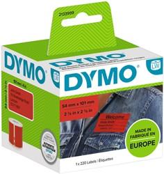 Etiket Dymo 2133399 labelwriter 54x101mm badgelabel zwart/rood 220stuks