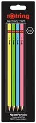 Potlood rOtring Woodcase Neon HB blister à 4 stuks assorti