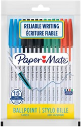 Balpen Paper Mate Entry Line 045 0.7mm blister à 15 stuks assorti