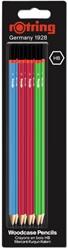 Potlood rOtring Woodcase Core HB blister à 8 stuks assorti