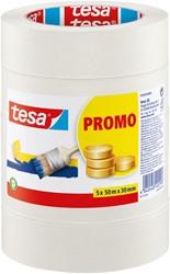 Afplaktape Tesa 55349 basic promo 30mmx50m 5rollen