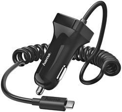 Autolader Hama USB-C spiraalsnoer 2,4A, zwart