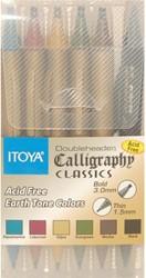 Kalligrafiepen Itoya CL10 1.5 én 3.0mm penpunt set à 6 basis funkleuren