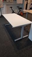 Zit/Sta tafel 80x160cm aluminium/wit (2e hands)-2