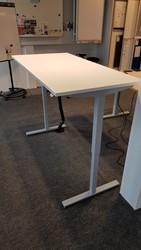 Zit/Sta tafel 80x160cm aluminium/wit (2e hands)