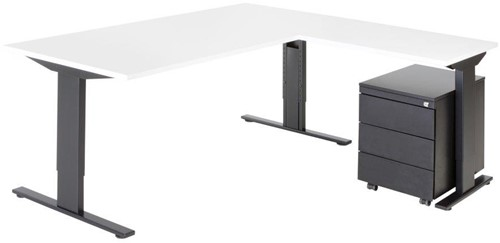 Opstelling tafel serie 50 180X80cm inclusief aanbouwblad en ladenblok-2