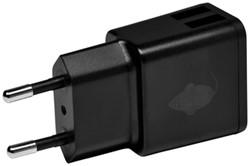 Oplader Green Mouse USB-A 2X 2.4A zwart