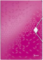 Elastomap Leitz WOW A4 3 kleppen PP roze