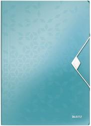 Elastomap Leitz WOW A4 3 kleppen PP ijsblauw