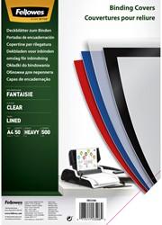 Voorblad Fellowes A4 PP 500micron transparant lijnen 50stuks
