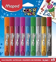 Glitterlijm Maped 10.5ml blister à 9 kleuren