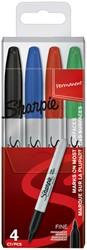 Viltstift Sharpie rond 0.9mm assorti etui à 4 stuks