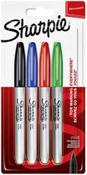 Viltstift Sharpie rond 0.9mm assorti blister à 4 stuks