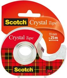 Plakband Scotch Crystal 600 19mmx25m transparant + afroller