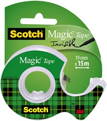 Plakband Scotch Magic 810 19mmx15m onzichtbaar + afroller