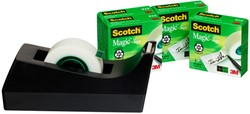 Plakbandhouder Scotch C38 zwart + 4rol magic tape 19mmx33m