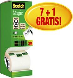 Plakband Scotch Magic 810 19mmx33m onzichtbaar mat 7+1 gratis