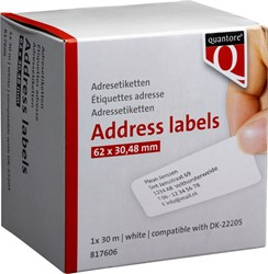 Labeletiket Quantore DK-22205 62x30,48mm wit