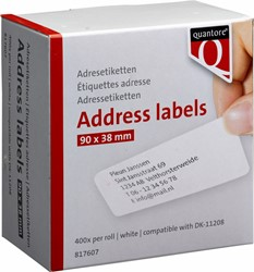 Labeletiket Quantore DK-11208 38x90mm adres wit