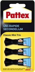 Secondelijm Pattex Classic mini trio tube 3x1gram op blister