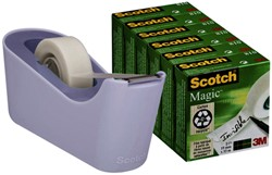 Plakbandhouder Scotch C18 lavendel + 6rol magic tape 19mmx33m