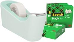Plakbandhouder Scotch C18 mint + 4rol magic tape 19mmx33m