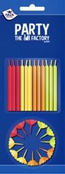 Taartkaarsjes Haza inclusief houdertjes neon 12 stuks assorti