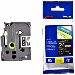 Labeltape Brother P-touch TZE-355 24mm wit op zwart