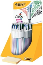 Balpen Bic 4kleuren Shine zilver/paars/roze/blauw