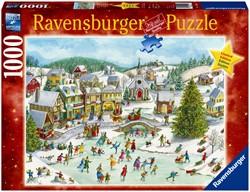 Puzzel Ravensburger speelse kerstdag 1000st