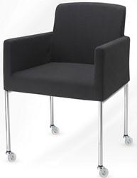 Bezoekersstoel serie 20 op wielen zwart