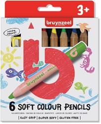 Kleurpotloden Bruynzeel Kids dik waskrijt blister à 6 stuks assorti