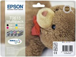 Inktcartridge Epson T0615 zwart + 3 kleuren