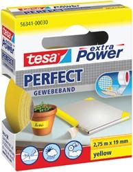 Plakband Tesa textiel 19mmx2.75m geel