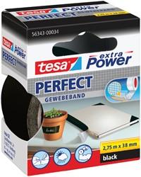 Plakband Tesa textiel 38mmx2.75m zwart