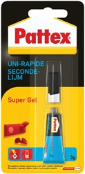Secondelijm Pattex super gel tube 3gram op blister