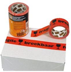 Verpakkingstape CleverPack breekbaar 50mmx66m oranje/zwart p/3